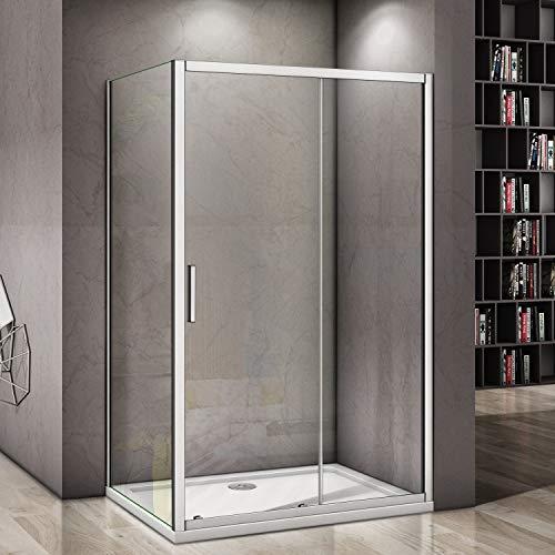 1400x800mm Sliding Door 6mm Safety Glass Screen Cubicle Shower Enclosure Side Panel (1400mm door+800mm side panel)
