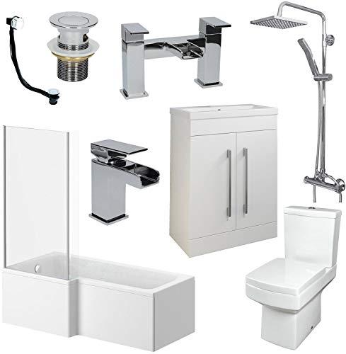 Affine Bathroom Suite L Shaped LH Bath Basin 600mm Vanity Unit Toilet Shower Taps Set