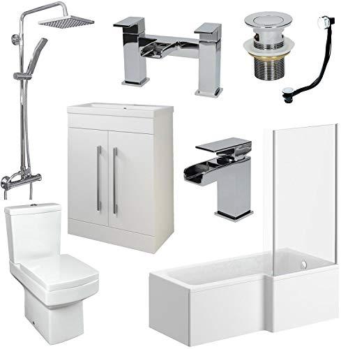 Affine Bathroom Suite L Shaped RH Bath Basin 600mm Vanity Unit Toilet Shower Taps Set