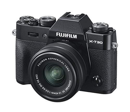 Fujifilm X-T30 Mirrorless Digital Camera, Black with Fujinon XC15-45mm Optical Image Stabilisation Power Zoom Lens kit, Black