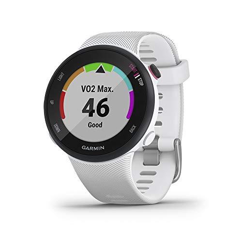 Garmin Forerunner 45S GPS Running Watch with Garmin Coach Training Plan Support - White, Small
