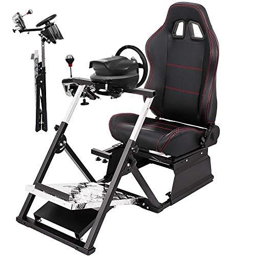 Hopopular Racing Simulator Cockpit G27/G29/G920/T500RS Racing Simulator Cockpit Gaming Chair V2 GT Adjustable Racing Seat Gaming Chair(G27/G29/G920/T500RS)