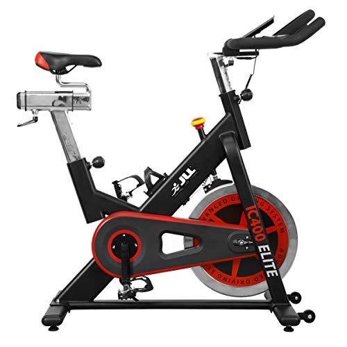 JLL IC400 ELITE Indoor Bike, Direct Belt Driven Exercise Bike For Home, 20kg Flywheel, Friction Resistance, Monitor, Heart Rate Sensors, Adjustable Seat, 12 Months Domestic Warranty