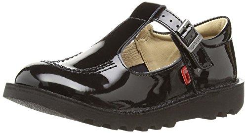 Kickers Girls' Kick T-Bar School Shoes, Black, 1 UK Child