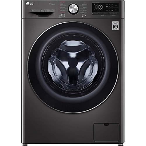 LG TurboWash 360 with AI DD V9 F4V909BTS WiFi-enabled 9 kg 1400 Spin Washing Machine - Black Steel, Black