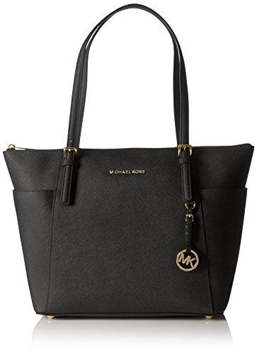 Michael Kors Jet Set Large Top-zip Saffiano Leather Tote Shoulder Bag (Black)