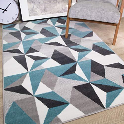 "Milan Grey Silver Cream Duck Egg Blue Kaleidoscope Geometric Modern Traditional Living Room Rug (60cm x 240cm (2ft x 7ft 10""))"