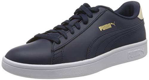 PUMA Smash v2 L Jr Low-Top Sneakers, Peacoat Tapioca Team Gold White, 13 UK