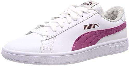 PUMA Smash v2 L Jr Low-Top Sneakers, Pu Wh Magenta Haz Fig Gr VIO, 3.5 UK