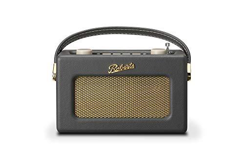 Roberts Revival Uno Retro Portable/Compact DAB/DAB+/FM Digital Radio with Alarm Clock Radio, Charcoal Grey