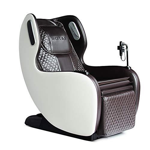 ROTAI Smart Massage Chair Neck Back Waist Shiatsu Kneading Recliner Whole Body Massage Electric Seat Pads Bluetooth Speaker USB Charger 6 Auto Massage Program (Brown)