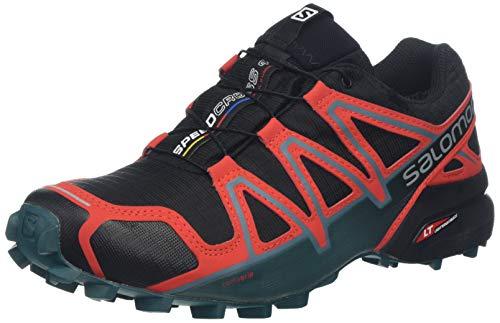 Salomon Men's Speedcross 4 GTX Trail Running Shoes,Black (Black/High Risk Red/Mediterranean Blue),8 UK (42 EU)
