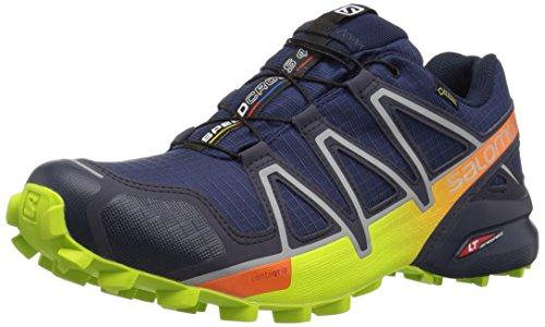 Salomon Men's Speedcross 4 GTX Trail Running Shoes,Blue (Medieval Blue/Acid Lime/Graphite 000),9 UK (43 1/3 EU)
