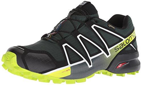 Salomon Men's Speedcross 4 GTX Trail Running Shoes,Green (Darkest Spruce/Black/Acid Lime),9 UK (43 1/3 EU)
