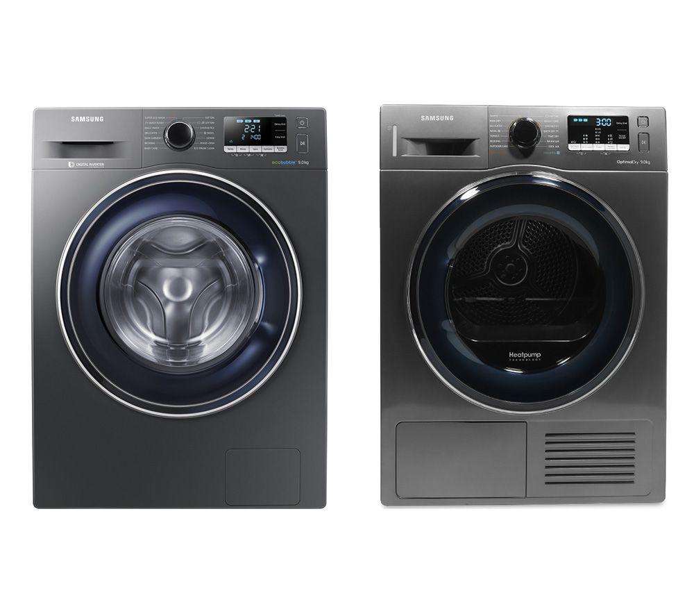SAMSUNG DV90M50003X/EU 9 kg Heat Pump Tumble Dryer & ecobubble WW90J5456FX 9 kg 1400 Spin Washing Machine Bundle