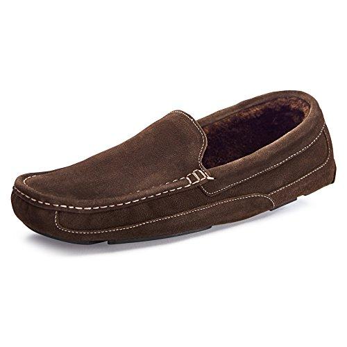Samuel Windsor Men's Handmade Suede Leather Moccasin Slippers, 14 UK Brown