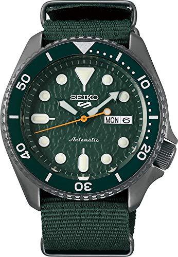 Seiko Men's Analogue Automatic Watch with Cloth Strap SRPD77K1 (Green, Sense)