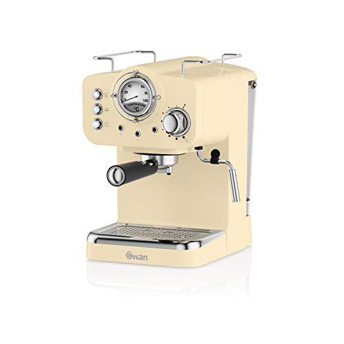 Swan SK22110CN, Retro Pump Espresso Coffee Machine, 15 Bars of Pressure, Cream