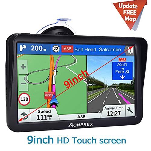 "Aonerex 9"" Truck Sat Nav with Voice Lane Guidance, Speed Cameras, Free Lifetime Map Updates"