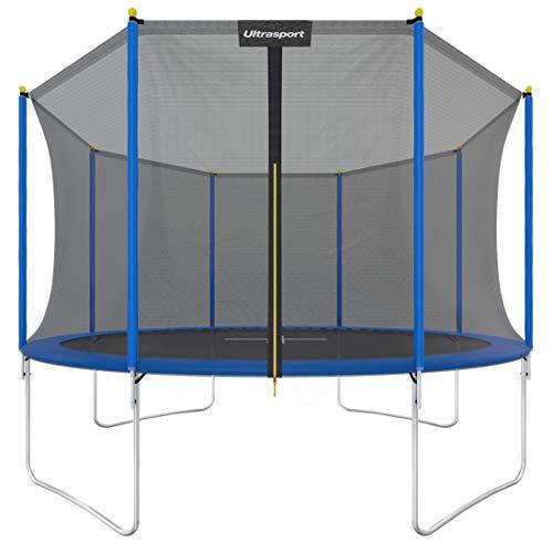 Ultrasport Garden Trampoline Uni-Jump, Kids Trampoline, Trampoline Complete Set Including Jumping Sheet, Safety Net, Padded Net Posts and Edge Cover, Blue,183 cm